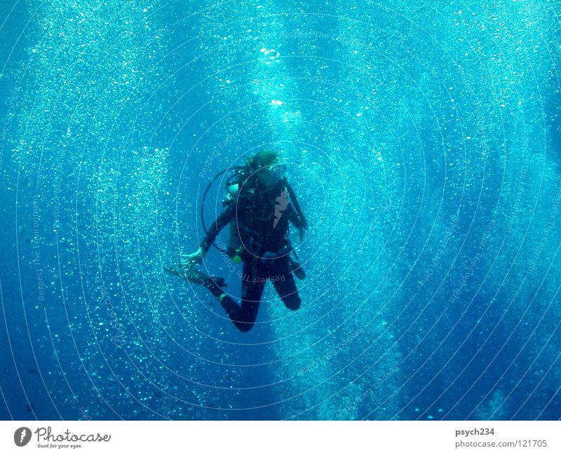Scuba Diving Tauchgerät Freizeit & Hobby Wassersport Sport Spielen bubbles water floating waiting sports woman blue swimming ocean underwater