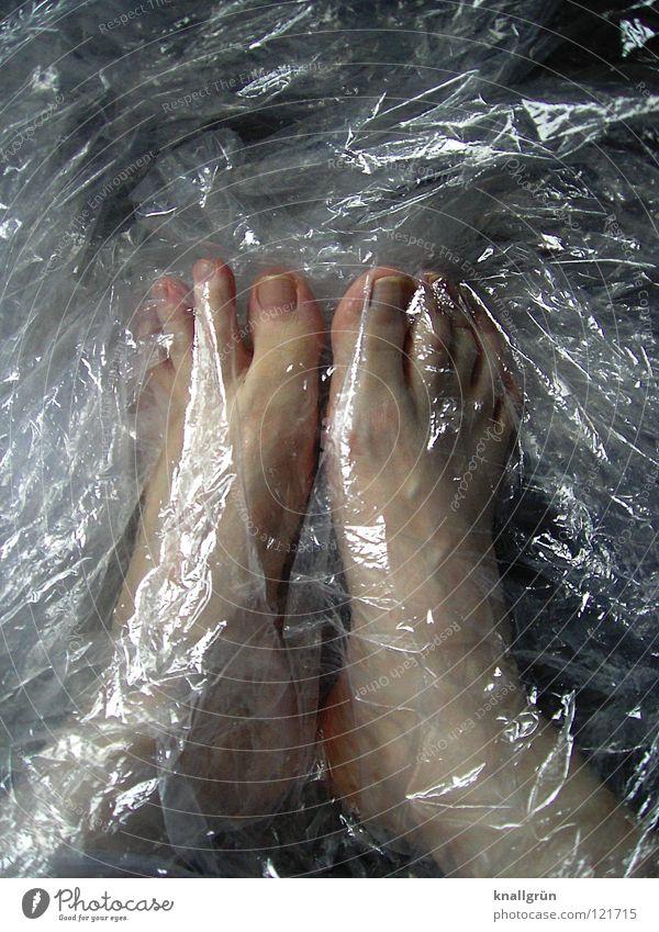 Luftdicht Folie Verpackung Verpackungsmaterial durchsichtig obskur Fuß geschlossen hell Haut