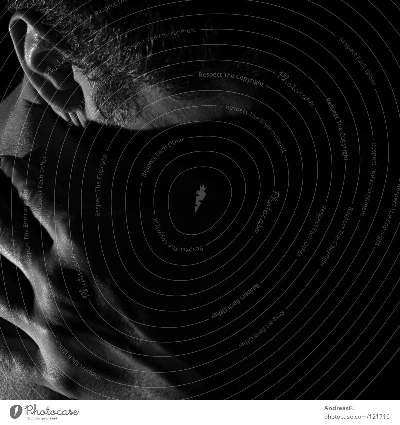 Schattenseite Mensch Mann schön Hand Einsamkeit dunkel Traurigkeit Tod Denken Angst Haut Trauer Krankheit Vertrauen Ohr hören