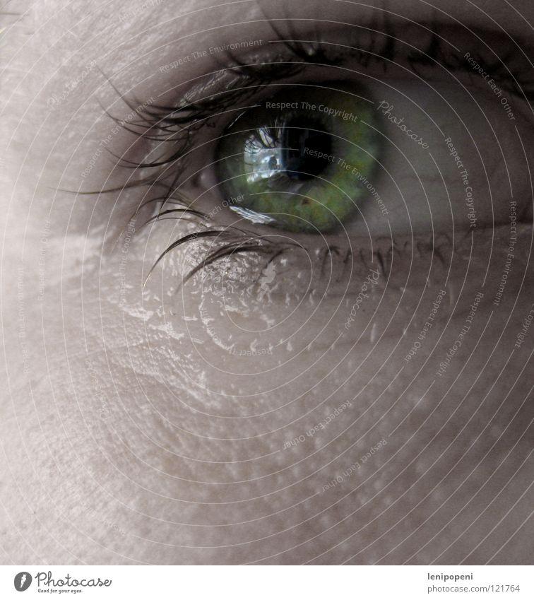 Greentear Frau Wasser grün Auge Traurigkeit hell Haut Trauer Falte Verzweiflung bleich weinen Wimpern Tränen Enttäuschung Pupille