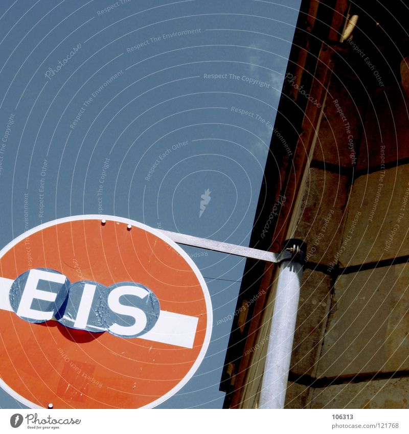 EIS Schnellzug Durchgang Verbote Straßenkunst kleben i Eisdiele Flur Durchfahrtsverbot Verkehrsschild Eisverkäufer Kindheitstraum Speiseeis Hinweisschild