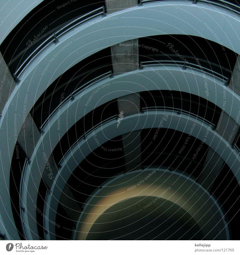 elfenbeinturm Parkhaus Schneckenhaus Einfahrt Spirale Etage Haus Lichthof Beton tief Sog Wasserwirbel Unendlichkeit Schwarze Löcher Galaxie Tornado aufgewickelt