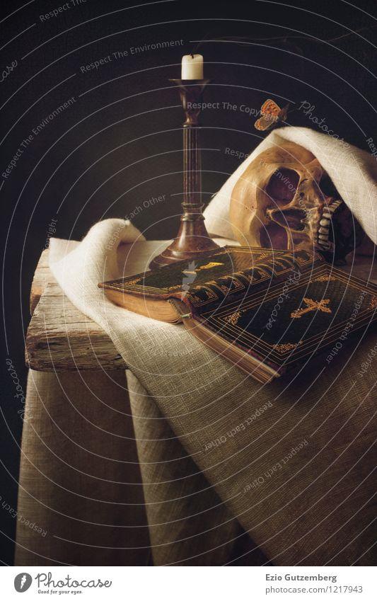 Vanitas mit Bibel, Schädel, Kerze und Schmetterling Leben Mensch Kopf Tier 1 Beginn Ewigkeit Religion & Glaube Moral Rettung Vergänglichkeit Stillleben death