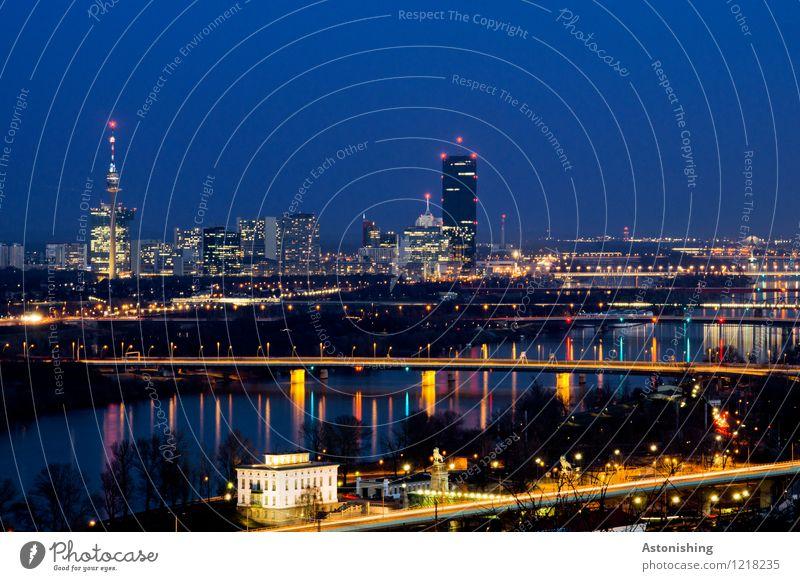 Wiener Skyline Himmel Stadt blau Wasser Haus dunkel schwarz Umwelt Architektur Beleuchtung Gebäude Wetter Glas Hochhaus hoch Aussicht