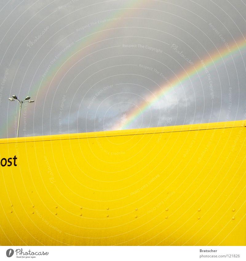 Blühende Landschaften Statistik Osten Laterne Regenbogen gelb Lastwagen fahren Post Postauto Postkutsche E-Mail langsam Zone Dresden Ossis Wessis Aufschwung