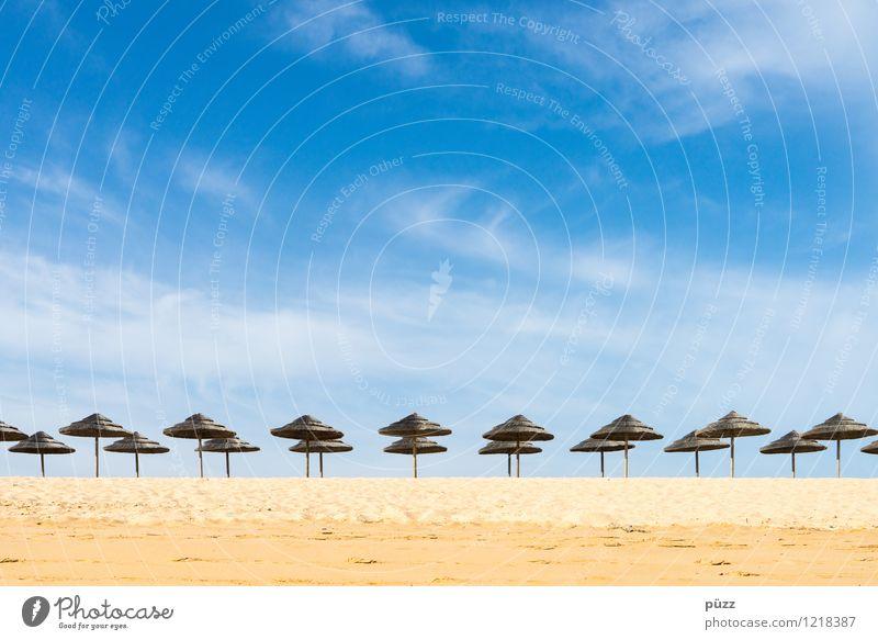 Summertime Himmel Ferien & Urlaub & Reisen blau Sommer Sonne Erholung Meer Einsamkeit Landschaft Strand gelb Küste Sand Horizont Tourismus Warmherzigkeit