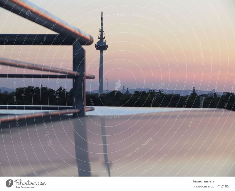 skyline Architektur Turm Skyline Abenddämmerung Fernsehturm Mannheim