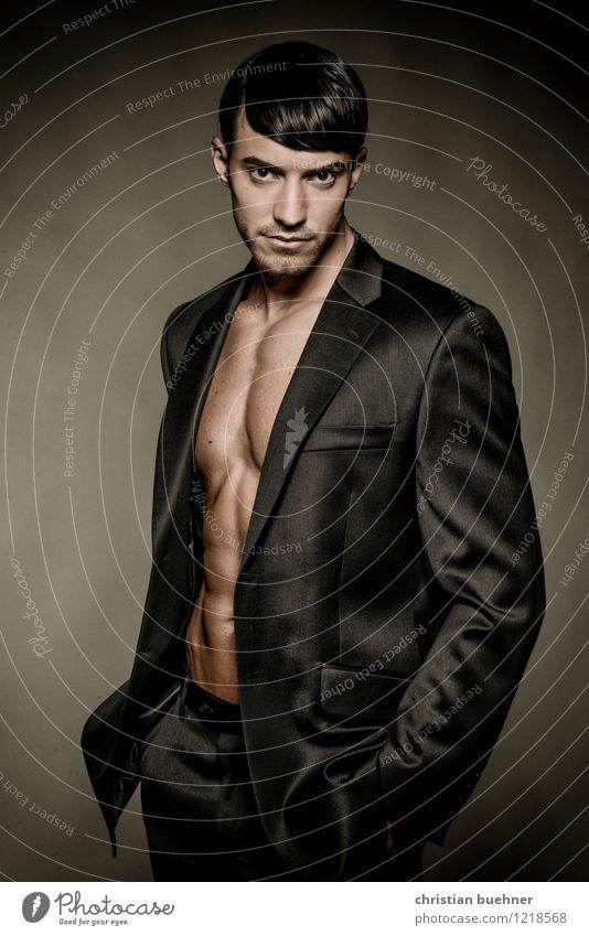 latino Junger Mann Jugendliche 1 Mensch 18-30 Jahre Erwachsene Blick stehen sportlich elegant einzigartig modern muskulös nackt dünn schön Erfolg Kraft Macht