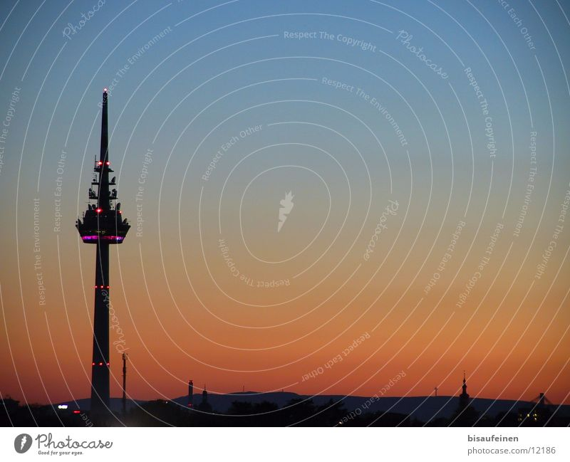 Turm Himmel Gebäude Architektur Skyline Abenddämmerung Fernsehturm Mannheim