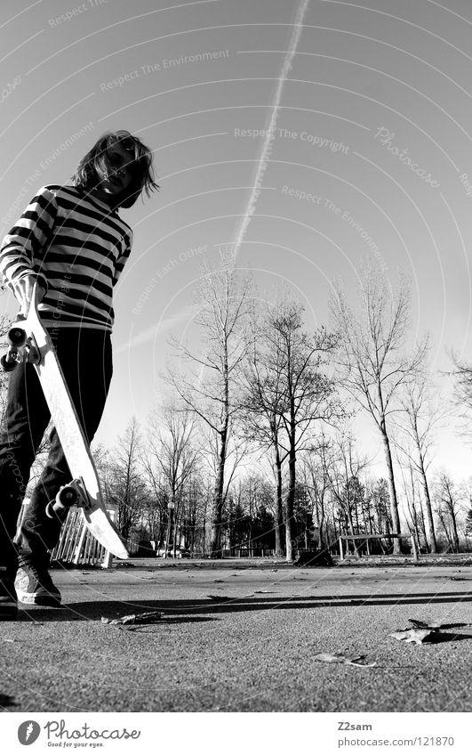 skate more Aktion Skateboarding Zufriedenheit gestreift Beton Licht Baum Weitwinkel Jugendliche Sport stehen Streifen Park Blatt Funsport Bewegung Holzbrett