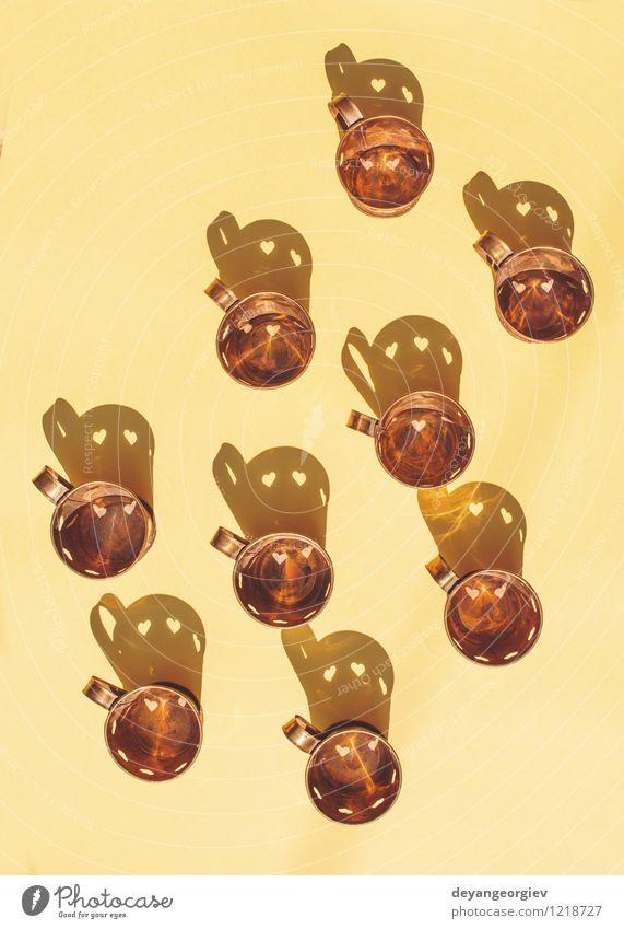Metallbecher Tee Design Dekoration & Verzierung Tisch Feste & Feiern Valentinstag Herz Liebe heiß retro braun weiß Romantik Tasse Form Hintergrund trinken Café