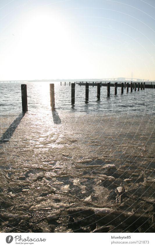 Eiswasser Wasser schön Himmel Sonne blau Winter schwarz gelb Ferne Freiheit Landschaft hell Deutschland frisch Fröhlichkeit