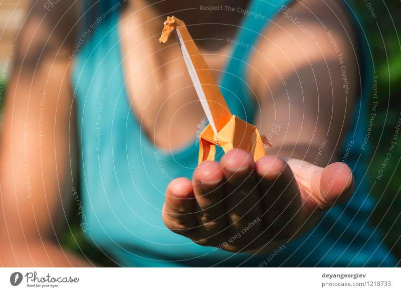 Origami orange Farbgiraffe an Hand Design Freude Spielen Ferien & Urlaub & Reisen Tourismus Safari Dekoration & Verzierung Handwerk Kunst Zoo Natur Tier Park