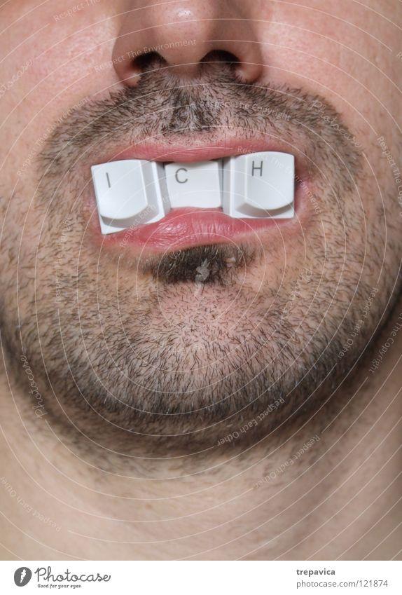 ... ich... Buchstaben Wort graphisch Mann Identität Zahnarzt Lebensmittel Bart Knöpfe Computer-Nutzer Informatik Tippen Hacker Stress zuviel