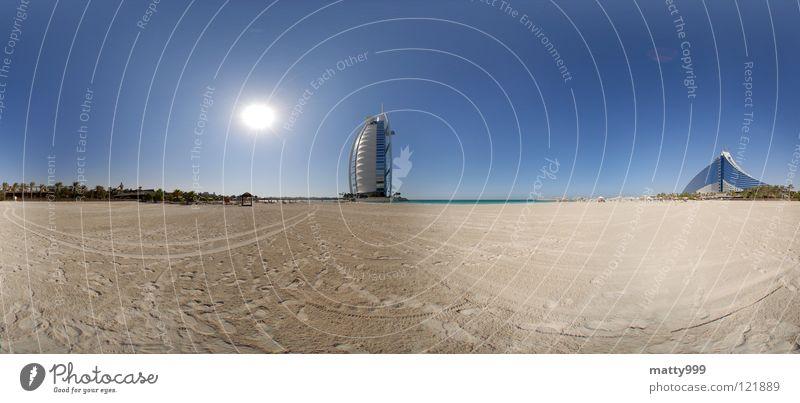 In Dubai Panorama (Aussicht) Meer Jumeira Beach Hotel Ferien & Urlaub & Reisen Arabienm Strand Sonne Burj Al-Arab Hotel groß Panorama (Bildformat)