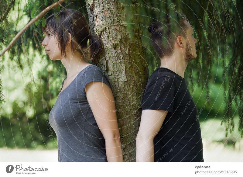 Naturverbunden Mensch Junge Frau Jugendliche Junger Mann Leben 18-30 Jahre Erwachsene Sommer Baum Partnerschaft Entschlossenheit Erholung Freiheit Gelassenheit