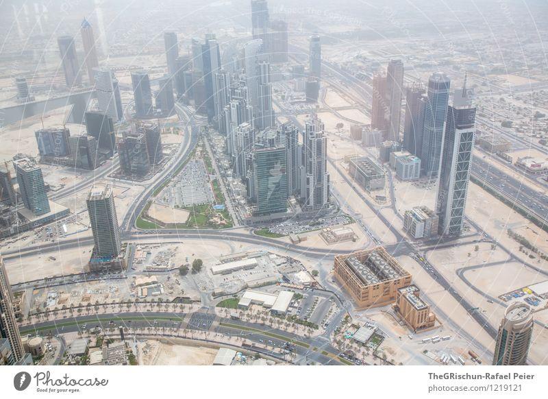 Von oben herab Dubai braun gelb grau grün orange schwarz silber weiß Skyline Hochhaus Dekadenz Sand Haus Stadt Bauwerk Wärme hoch Stolz Bonze Wüste