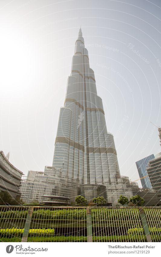 Kalifa Dubai Stadt Stadtzentrum bevölkert Haus Hochhaus Turm Architektur Fassade Sehenswürdigkeit Wahrzeichen braun gold grau grün schwarz silber weiß