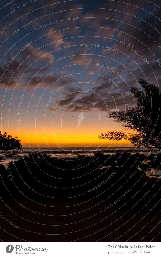 Stimmung Natur blau Erholung Landschaft Wolken Strand schwarz Umwelt gelb Küste grau orange gold Insel Schönes Wetter