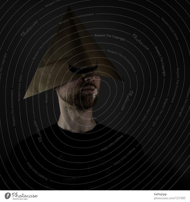 don quichotte Mensch Mann Freude klein Kopf Haare & Frisuren lustig groß Wachstum Papier streichen Maske Hut dünn Bart trashig
