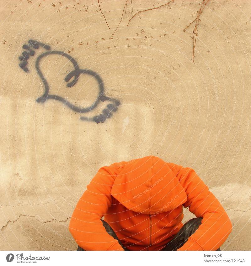 Loosing your heart Mann blau Einsamkeit gelb Wand Graffiti Gefühle oben Wege & Pfade Traurigkeit Mauer orange Angst gehen Herz fliegen