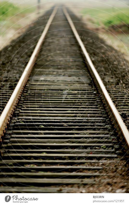 train tracks Ferien & Urlaub & Reisen Ferne Stein Wege & Pfade Landschaft Verkehr Eisenbahn Perspektive Güterverkehr & Logistik Ziel Unendlichkeit lang Gleise
