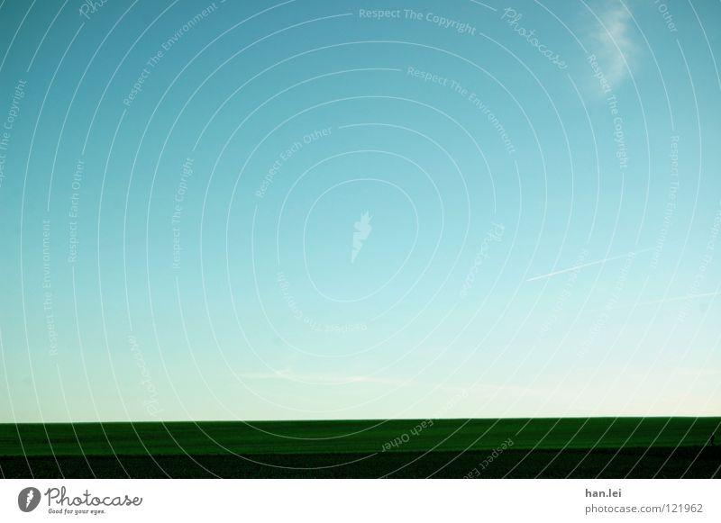 Horizont ruhig Ferne Freiheit Sommer Luft Himmel Wolken Wiese Feld Streifen einfach blau Atem Übergang Farbfoto Außenaufnahme Menschenleer Textfreiraum links