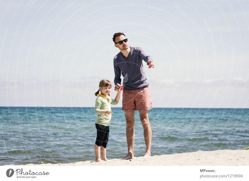 zwei drachenbändiger Mensch maskulin feminin Mädchen Mann Erwachsene Eltern Familie & Verwandtschaft Kindheit Leben 2 Umwelt Sand Himmel Horizont Sonne Wind