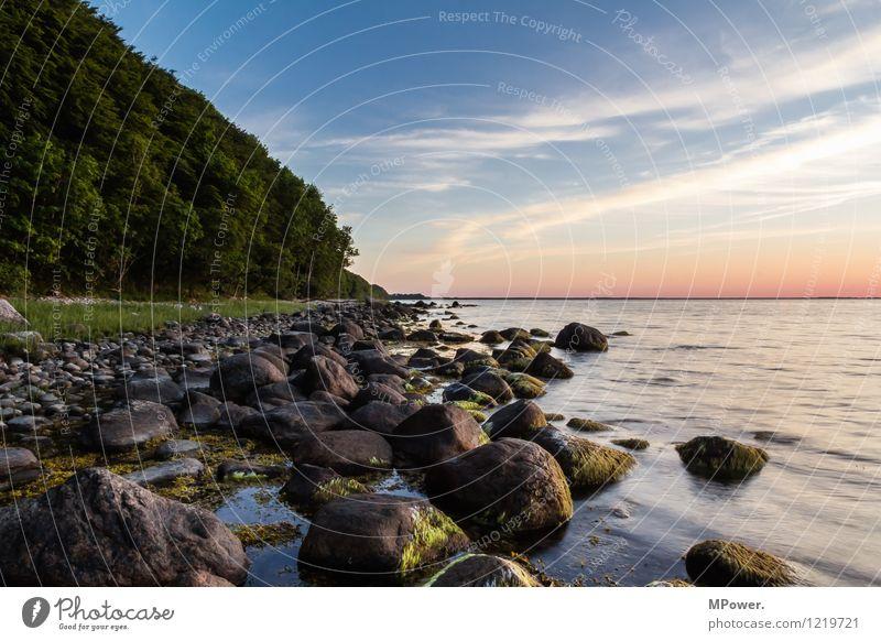 rügen Umwelt Himmel Wolken Sonnenaufgang Sonnenuntergang Sonnenlicht Sommer Schönes Wetter Wellen Küste Strand Ostsee Meer Sumpf blau orange weiß Stimmung