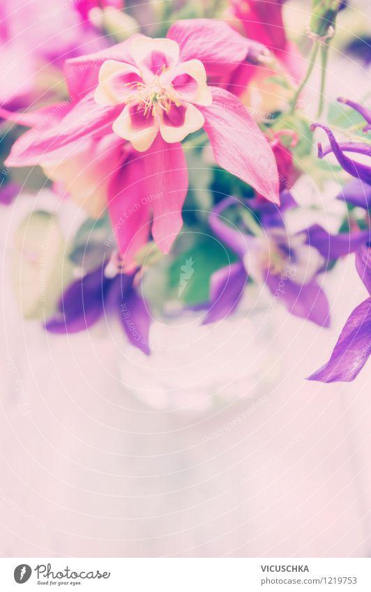 Garten Blumen im Glas Lifestyle Stil Design Feste & Feiern Natur Pflanze Blatt Blüte Blumenstrauß rosa Duft Hintergrundbild Vase Tisch Romantik Postkarte