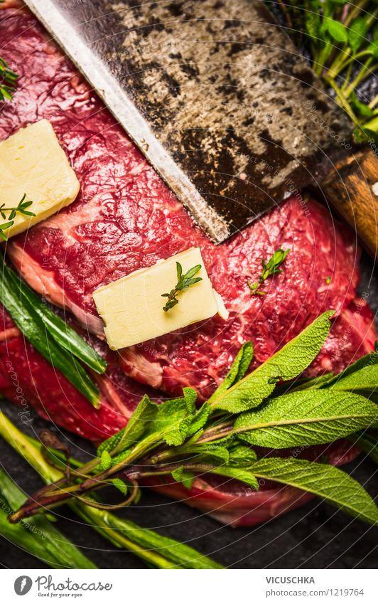Fleisch, Kräuter, Butter und Messer Gesunde Ernährung dunkel Leben Stil Lebensmittel Design Kochen & Garen & Backen einfach Kräuter & Gewürze Bioprodukte
