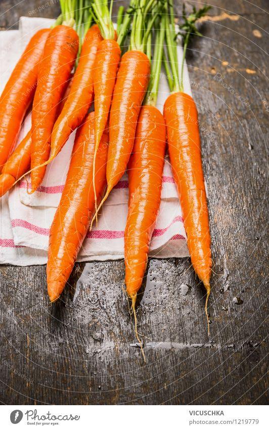 Frische Bundmöhren Lebensmittel Gemüse Ernährung Bioprodukte Vegetarische Ernährung Diät Stil Design Gesunde Ernährung Garten Tisch Snack Vitamin Möhre
