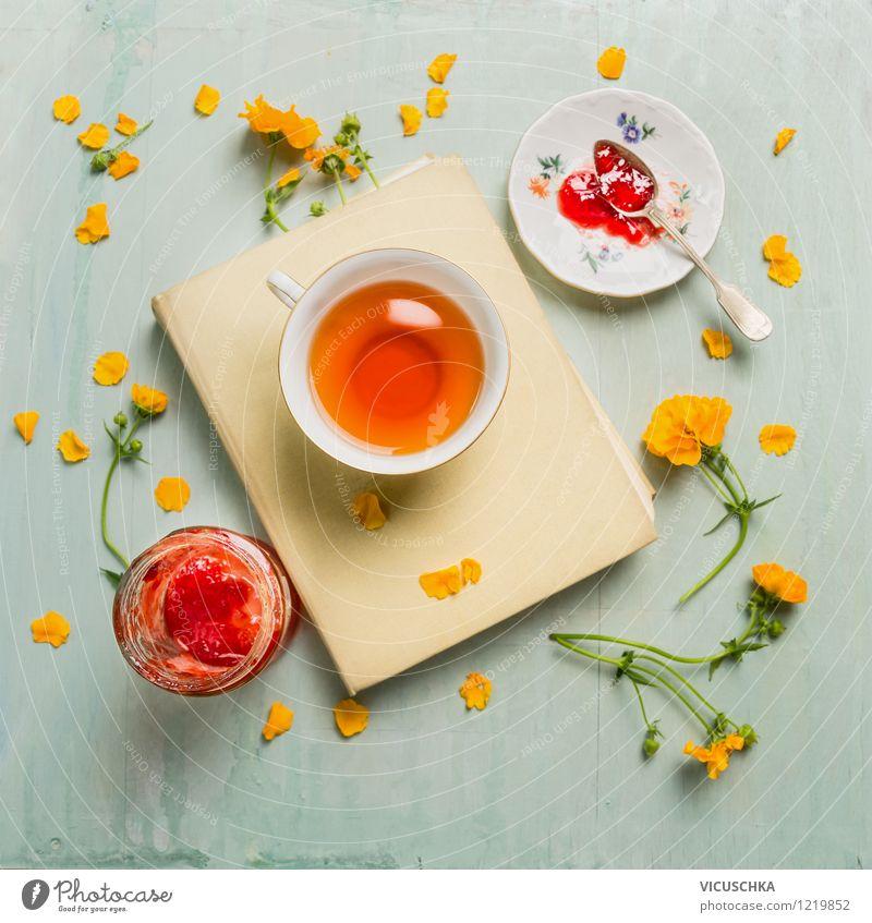 Sommer Frühstück mit Tee und Marmelade Blume Blatt Frühling Blüte Stil Garten Lebensmittel Lifestyle Design Dekoration & Verzierung Glas Ernährung Tisch Getränk