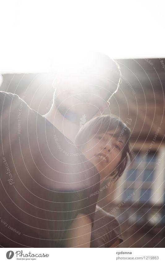 Blickkontakt Lifestyle Leben Mensch Junge Frau Jugendliche Junger Mann Paar Partner 18-30 Jahre Erwachsene Sonnenlicht Architektur Beginn Beratung Partnerschaft