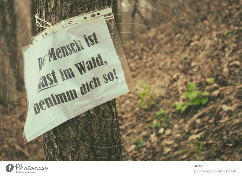 Eintritt frei! wandern Landwirtschaft Forstwirtschaft Umwelt Natur Landschaft Tier Erde Herbst Baum Wald Zettel Schilder & Markierungen Hinweisschild Warnschild
