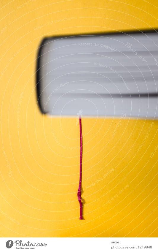 Da bin ich raus. Lifestyle Stil Design lesen Bildung Schule lernen Studium Kultur Printmedien Buch Zeichen hängen dick einfach Neugier klug gelb Weisheit Beginn