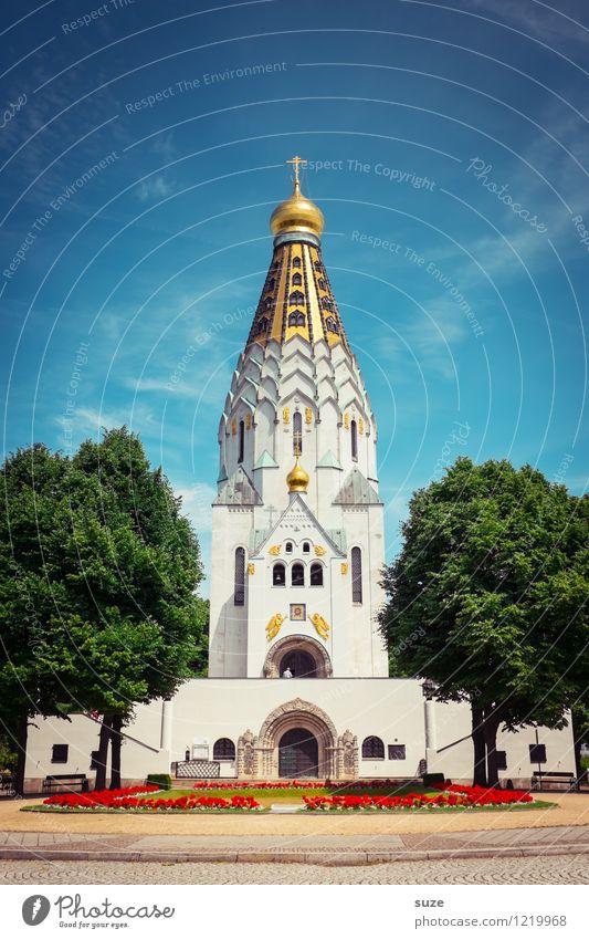 Heiliger BimBam Himmel Baum Kirche Platz Bauwerk Gebäude Architektur Sehenswürdigkeit Denkmal Zeichen authentisch schön Spitze blau gold ästhetisch Glaube