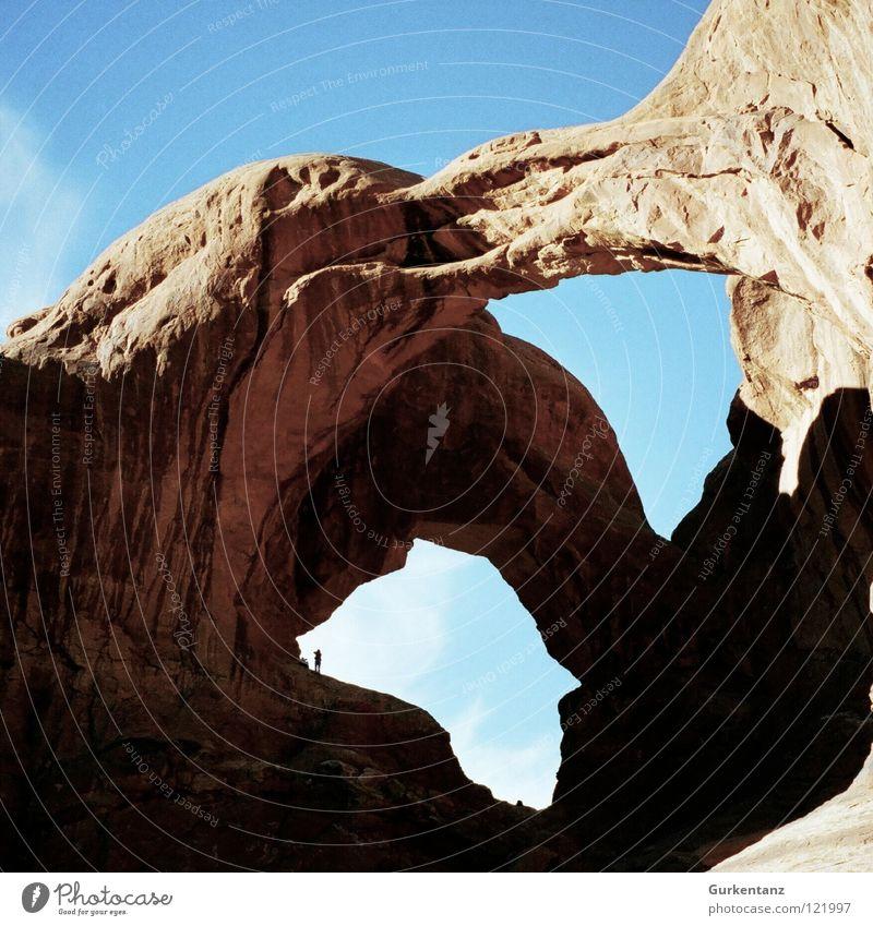 Doppelherzkammer Fenster Stein USA Wüste Amerika Loch Nationalpark Mineralien Utah Nordamerika Locher Arches National Park