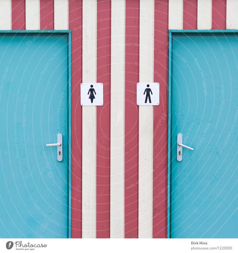 Da kommt jemand... Frau Mann weiß rot Wand feminin Gebäude Mauer Kunst Fassade maskulin Design Ordnung Tür authentisch einzigartig
