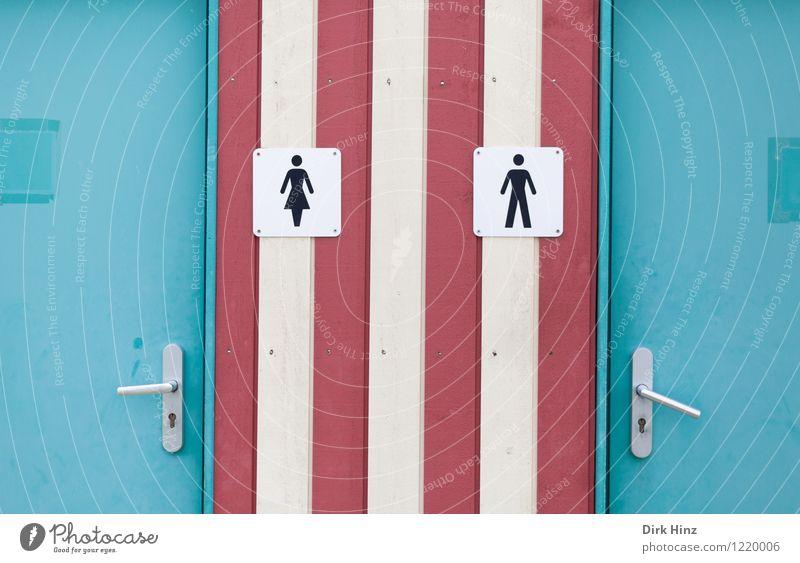 Rechts ist gleich frei! Frau Mann alt weiß rot feminin Gebäude außergewöhnlich Kunst Fassade maskulin Design Tür Schilder & Markierungen verrückt geschlossen