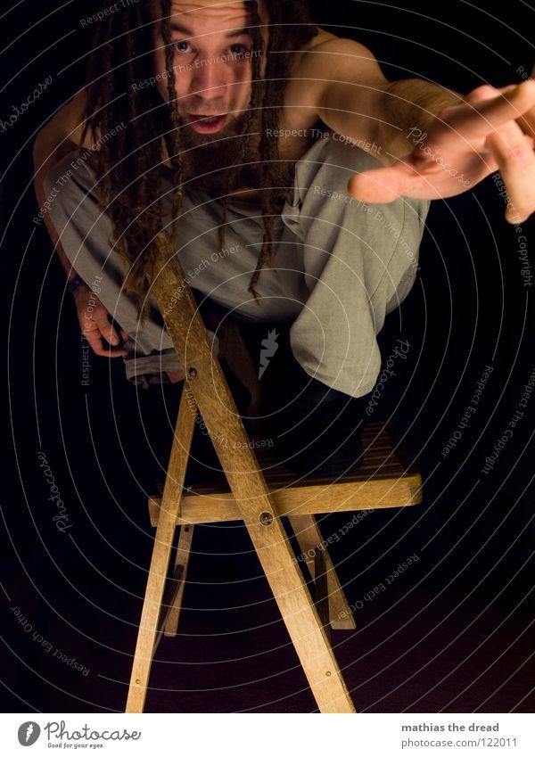 SEGEL SETZEN! Mensch Mann Ferien & Urlaub & Reisen Freude schwarz dunkel Spielen Gefühle Holz Haare & Frisuren Kopf lustig hell Kraft sitzen Mund