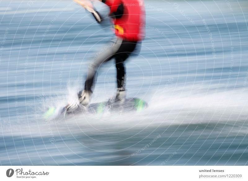AK# Wassersport Kunst ästhetisch Zufriedenheit Extremsport Windsurfing Kiting Wasseroberfläche Geschwindigkeit Sportler Schwimmweste Surfen Farbfoto