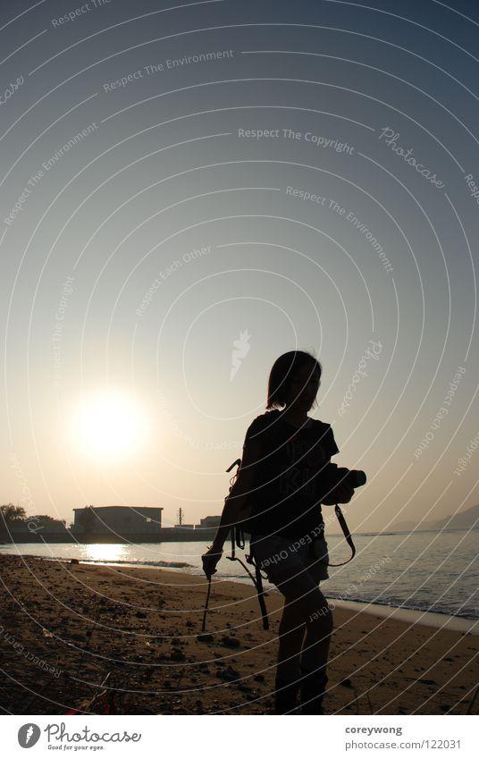 beach sunset Jugendliche Strand Hongkong Silhouette