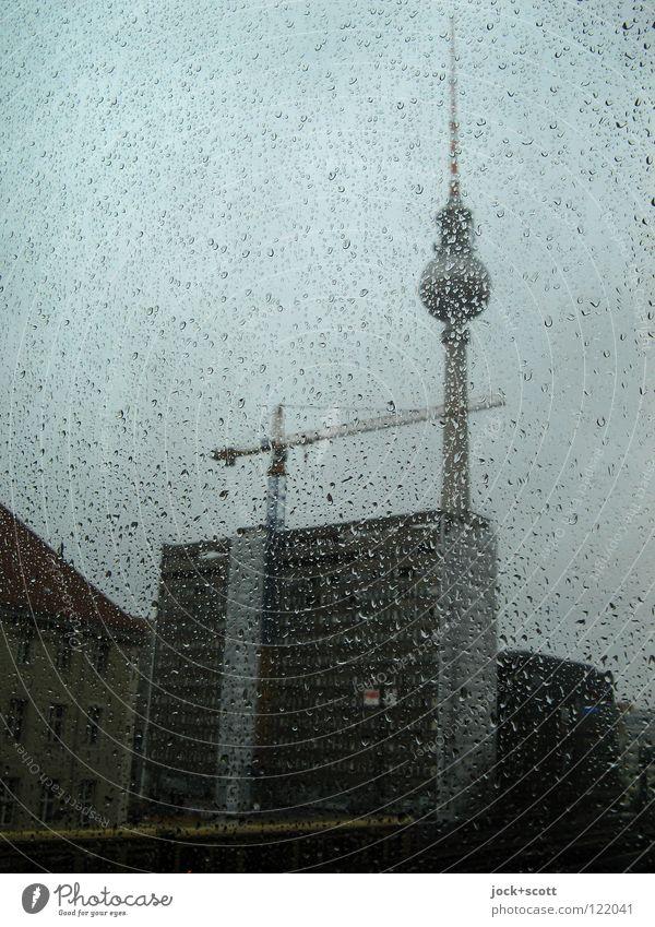 Perl Edition / Panorama Winter Baustelle Wasser Wassertropfen schlechtes Wetter Regen Berlin-Mitte Hauptstadt Turm Bauwerk Fenster Antenne Sehenswürdigkeit