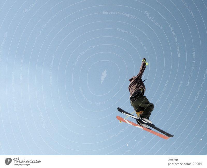 Abflug Skifahren springen Bewegung Sport frieren kalt Skier drehen Drehung Kandidat Geschwindigkeit Stiefel Freestyle Feldberg Fahrer Trick Freude Winter