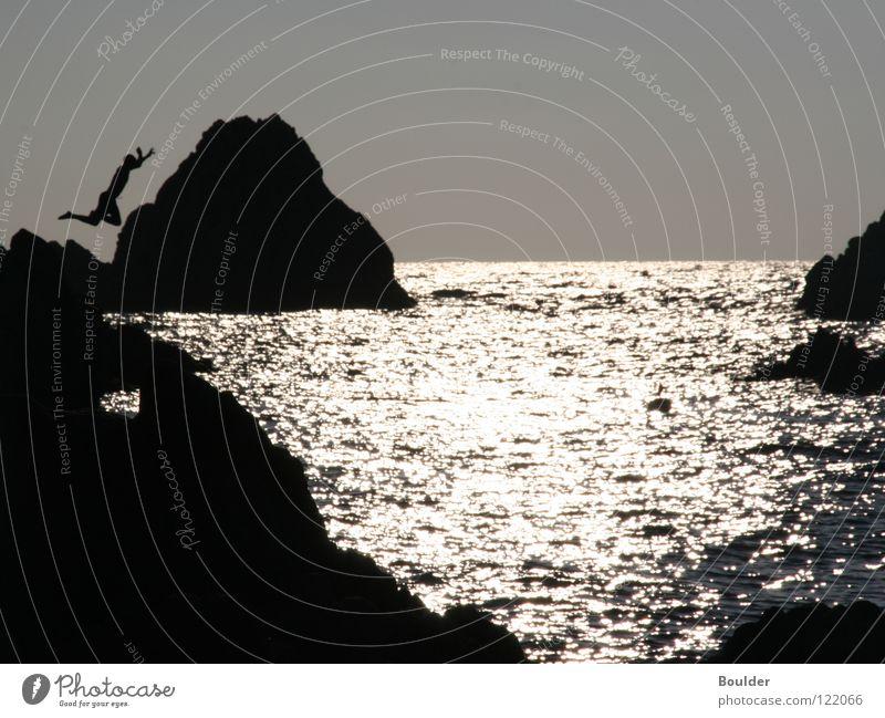 Jump Natur Wasser Meer springen Felsen Freizeit & Hobby Abenddämmerung Klippe