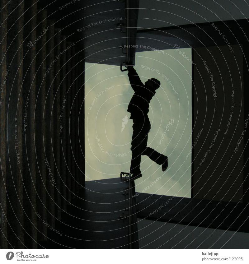 06 _ atlantis Mann Silhouette Dieb Krimineller Ausbruch Flucht umfallen Fenster Parkhaus Licht Geometrie Gegenlicht Jacke Mantel Mütze Athlet Thriller Ägypter