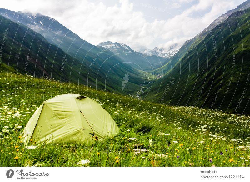 Campingplatz Ausflug Abenteuer Sommer Berge u. Gebirge wandern Natur Landschaft Himmel Wolken Klima Wetter Gras Wiese Hügel Alpen Schneebedeckte Gipfel Schweiz