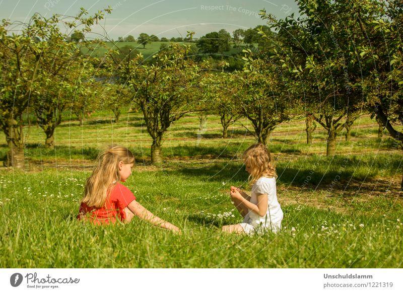 Schneeweißchen und Rosenrot Spielen Kinderspiel Sommer Garten Mädchen Geschwister Freundschaft Kindheit 2 Mensch 3-8 Jahre Natur Landschaft Schönes Wetter Baum