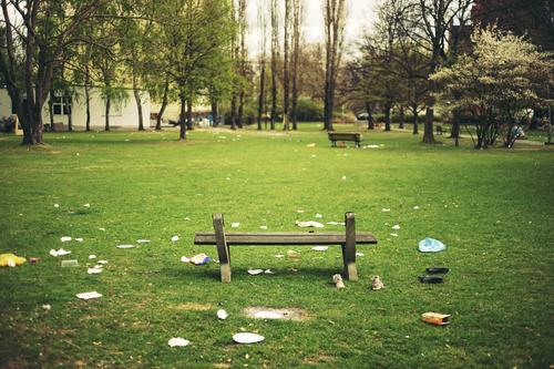 Party is over Stadt grün Umwelt Frühling Wiese Berlin Feste & Feiern Garten Park dreckig sitzen Sauberkeit Reinigen Bank Müll